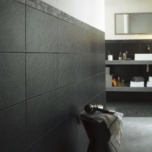 Carrelage mur noir 25 x 40 cm ardoise vendu au carton - Carrelage noir brillant salle de bain ...