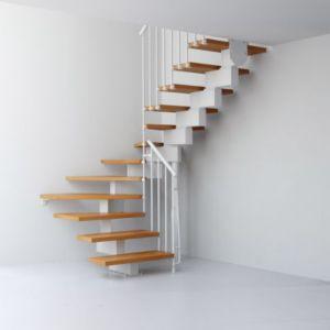 Escalier En U Métal Et Bois Magia 90 L90 Cm 14 Marches Blancclair