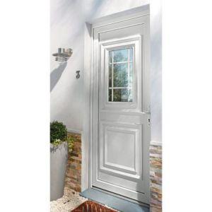 Porte D Entrée Pvc Geom Conveks Blanc 90 X H 215 Cm Poussant Droit Castorama