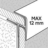 Profilé de rénovation de marche en aluminium décor métal mat GoodHome 21 x 30 x 900 mm.