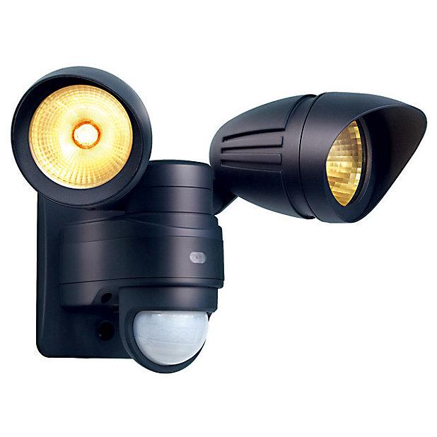 Projecteur 2 Tetes Exterieur A Detection Blooma Atria Noir Led 42w Castorama