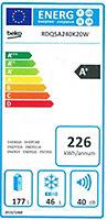 Réfrigérateur congélateur à poser Beko RCQNA305K20W 190L / 76L blanc