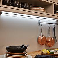 Réglette corner à détection LED Diall Noona argent 11,5W 90 cm IP20