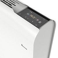 Radiateur connecté électrique à inertie fluide GoodHome Iriya blanc 1000W horizontal.