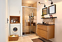 Receveur de douche extra-plat recoupable résine noire Cooke & Lewis Piro 80 x 120 cm