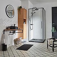 Receveur de douche à poser carré recoupable résine minérale noire COOKE & LEWIS Piro 90 x 90 cm