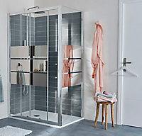 Receveur de douche à poser recoupable résine blanc Cooke & Lewis Piro 80 x 120 cm