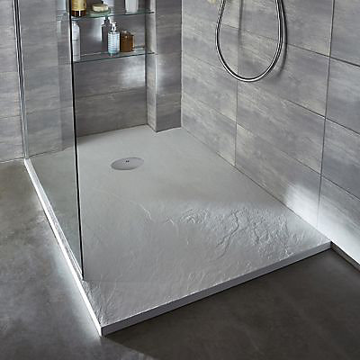 receveur de douche a poser recoupable resine blanc cooke lewis piro 80 x 140 cm