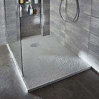 Receveur de douche à poser recoupable résine blanc Cooke & Lewis Piro 80 x 160 cm