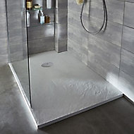 Receveur de douche à poser recoupable résine blanc COOKE & LEWIS Piro 90 x 90 cm
