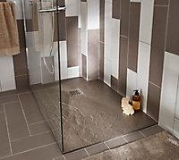 Receveur de douche à poser recoupable résine taupe Cooke & Lewis Piro 80 x 120 cm