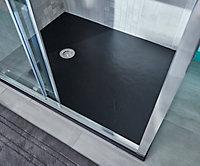 Receveur de douche à poser recoupable rectangulaire résine minérale noire Cooke & Lewis Piro 90 x 120 cm