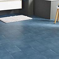 Revêtement sol PVC Baldosa bleu foncé 4 m (vendu à la coupe)