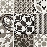 Revêtement sol PVC Saloon Provence noir et blanc (vendu à la coupe)