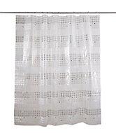 Rideau de douche plastique Peva blanc décor argent 180 x 200 cm Nakina