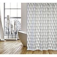 Rideau de douche tissu blanc décor graphique 180 x 200 cm Narok