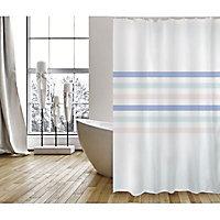Rideau de douche tissu blanc décor rayures 180 x 200 cm Deauville