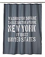 Rideau de douche tissu gris décor mots 180 x 200 cm Vouga