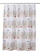 Rideau de douche tissu mutlicolore décor plage 180 x 200 cm Lago