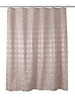 Rideau de douche tissu taupe décor points 180 x 200 cm Napo