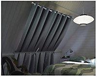 Rideau occultant Chap 140 x 260 cm gris foncé