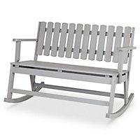 Rocking chair 2 places en pin Blooma Rural gris