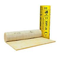 Rouleau isolant combles aménagés laine de verre voile confort Isover - 1,2 x 7 m ép.80 mm R. 2,25 Km²/W (vendu au rouleau)