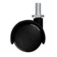 Roulette jumelée pivotante noire ø3.5 cm, charge max 18 kg