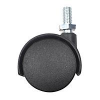 Roulette jumelée pivotante sans frein ø40 mm, tige filetée 8 x 15 mm, charge max 30kg