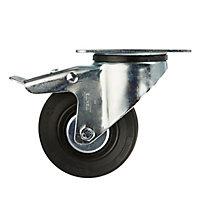 Roulette pivotante avec frein ø100 mm, à platine pivotante, charge max 75kg