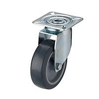 Roulette pivotante sans frein ø75 mm, à platine pivotante, charge max 60kg