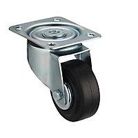 Roulette pivotante sans frein ø80 mm, à platine pivotante, charge max 70kg