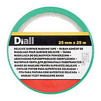 Ruban de masquage surfaces délicates Diall 25 m x 25 mm - 1 rouleau