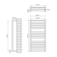 Sèche-serviettes eau chaude GoodHome Loreto vertical anthracite 546 W