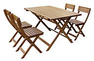 Salon de jardin Acacia - Table de jardin + 4 chaises pliantes