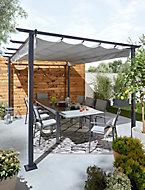 Salon de jardin Baru - Table + 6 fauteuils gris