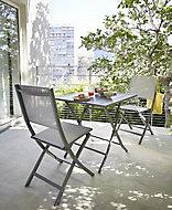Salon de jardin Batang - Table + 2 chaises anthracite