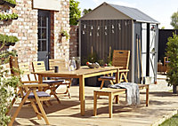 Salon de jardin Denia - Table + 2 bancs + 2 fauteuils