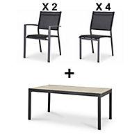 Salon de jardin Morlaix Batz - Table + 4 chaises + 2 fauteuils