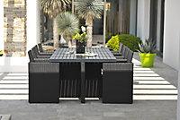 Salon de jardin PVC-8-ALU-N - Table + 8 fauteuils DCB Garden