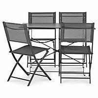 Salon de jardin Saba - Table + 4 chaises anthracite