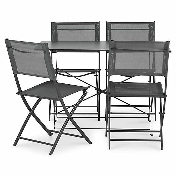 salon de jardin saba table 4 chaises anthracite