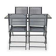 Salon de jardin Sibu anthracite - Table + 4 chaises
