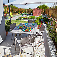 Salon de jardin Wolin Barbana - Table + 6 fauteuils driftwood