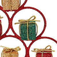 Sapin déco de table métallique rouge