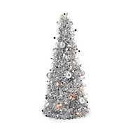 Sapin de table LED argenté 50 cm