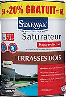 Saturateur haute protection terrasse en bois Incolore Starwax 5L +20 % gratuit