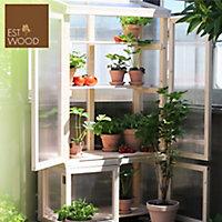 Serre de balcon bois naturel et polycarbonate, avec roulettes 79 x 39 x h.159 cm