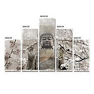 Set de 5 toiles Bouddha 100 x 150 cm