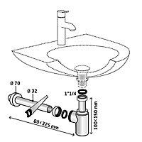 Siphon chromé 32mm avec tuyau Wirquin
